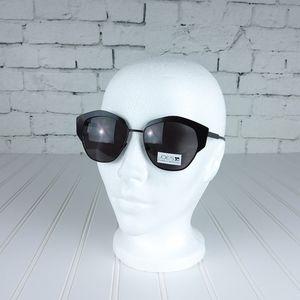 Joe's Jeans Black Satin Cat Eye Sunglasses